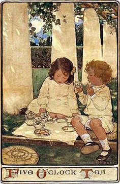 'Five O'clock Tea' (1903) by popular American illustrator Jessie Wilcox Smith (1863-1935), who studied with Howard Pyle and specialized in images of children.