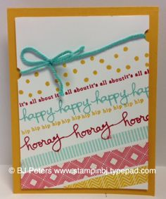 Stamps;  Endless BIrhtday Wishes - Photopolymere #137553 $13.95 Cardstock & Ink;  Crushed Curry, Real Red, Coastal Cabana, Whisper White Accessories;  Beach House Washi Tape, Dimensionals, Coastal Cabana thick Baker's Twine