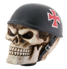 "A spooky accessory for your car, hand painted iron cross helmet skull. Made of cold cast resin. Hand painted. L: 3"" x W: 2.0"" x H: 2.5"""