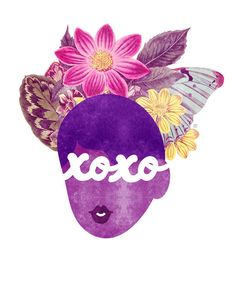 XOXO Typography Print, (Hugs and Kisses Natural Hair Valentine Illustration)