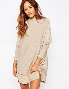 Image 1 of ASOS Tunic Dress With High Neck In Cashmere Mix