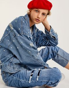 Oversized denim jacket with all over faux pearls - Denim jackets - Clothing - Woman - PULL&BEAR Ukraine
