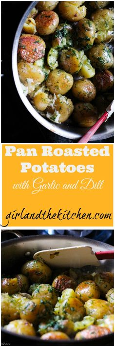Perfectly golden brown pan roasted potatoes with garlic, dill and vegan butter. Perfect as a quick side dish for a weeknight dinner or for a BBQ. Quick Side Dishes, Vegetable Side Dishes, Side Dish Recipes, Vegetable Recipes, Dinner Recipes, Cooking Vegetables, Potato Recipes, Dinner Ideas, Pan Roasted Potatoes