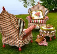 Mackenzie Childs Flower Market Furniture: It may take a while, but a plain wicker chair could be hand painted in this manner.