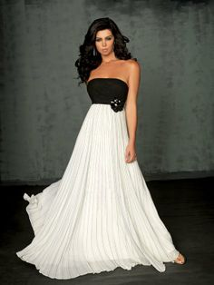 Chiffon Fabirc Pleat and Beading Handwork Strapless Evening Dress OL101858 US $120.00
