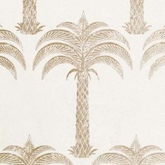 Marrakech Palm Wallpaper A stunning tropical wallpaper with palm tree design shown in soft metallic gold on a parchment ground.