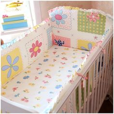 Promotion! 6PCS Baby Bedclothes For Cot and Cribs Reusable And Washable Baby Bedding Set  (bumper+sheet+pillow cover)