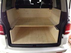 Diy Camper Trailer, Camper Caravan, Camper Van, Diy Van Furniture, Vw T5 Caravelle, Vw T5 Interior, Camper Beds, Van Car, Mini Camper