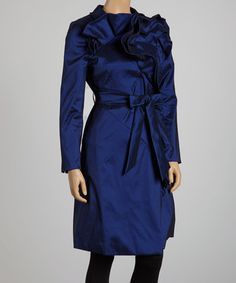Blue Ruffle Trench! Avail in Size L (12-14)