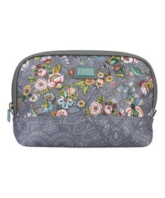 Another great find on #zulily! Gray French Flowers Medium Curved Cosmetic Bag & Pocket Mirror #zulilyfinds