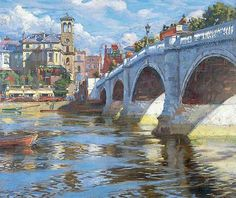 Richmond Bridge by Alexander Akerbladh (undated) Richmond Palace, Richmond Bridge, Richmond Green, Richmond Upon Thames, London Landmarks, River Thames, London Art, Art Uk, Your Paintings