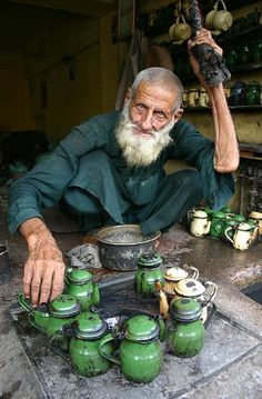 Tea maker in Peshawar, Pakistan. Peshawar's recorded history goes back as far as at least 539 BC, making it the oldest living city in Pakistan and one of the oldest in South Asia. (V)