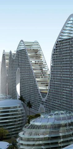 Fake Hills Linear Tower, Beihai, China by MAD Architects :: 35 floors, height 106m