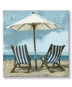 Another great find on #zulily! 'Beach Chairs' Gallery-Wrapped Canvas #zulilyfinds