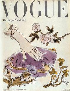 December 1947 cover of Vogue magazine. Featuring Queen Elizabeth's wedding.