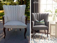 Houndstooth fabric chair ... diy re-upholster , @Rhonda Christian