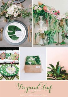 placesetting: design by luxe & luna couture events, floral by taffy floral and photography by sarah street photography via 100 layer cake // tropical arrangements: floral by mint design CA & photography by…