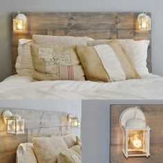 Wood Pallet Bed with Lanterns Wood Pallet Beds, Pallet Bed Frames, Diy Pallet Sofa, Diy Bed Frame, Diy Pallet Projects, Wood Pallets, Pallet Ideas, Pallet Benches, Pallet Tables