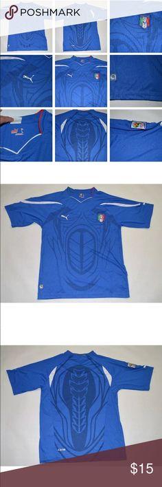 Puma USP Italia National Football Team Blue Puma USP Italia National Football Team Blue Short Sleeve Jersey Mens Puma Shirts Tees - Short Sleeve