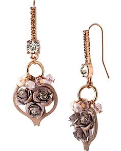 PINKTINA HEART ROSE CLUSTER SHAPARD EARRINGS PINK MULTI accessories jewelry earrings fashion