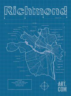 Richmond Artistic Blueprint Map Art Print by Christopher Estes at Art.com