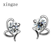 Find More Stud Earrings Information about High quality silver plated jewelry bowknot heart shaped water language stud earrings for women fine jewelry wholesale,High Quality earring jacket,China jewelry gold earring Suppliers, Cheap earrings tiffany from Xingze Jewelry store on Aliexpress.com