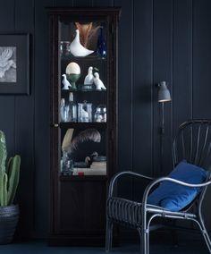 Un armario negro con puertas de cristal lleno de botellas, botes, pájaros de cerámica y libros.
