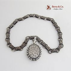 Antique Victorian Sterling Silver Book Chain Collar Bookchain-Full English Hallmarks c. This impressive pendant locket is 2 long including the bail, 1 wide, the chain is 18 long, at the widest, total weight is 53 grams or ozs Troy. Victorian Jewelry, Antique Jewelry, Charlotte, Cushion Cut Engagement Ring, Silver Lockets, Ancient Jewelry, Sterling Silver Chains, Antique Gold, Antiques