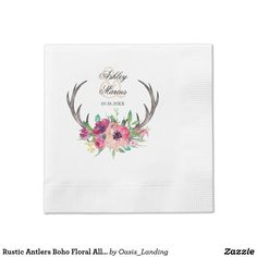 Rustic Antlers Boho Floral Allure Paper Napkin - A lovely choice for wedding receptions, engagement parties or bridal showers, this paper napkin design features deer horns beautifully embellished with watercolor florals in rich purple, magenta and pink hues. Sold at Oasis_Landing on Zazzle.