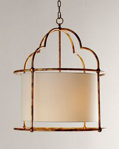 "Daniella Gold Pendant Light at Horchow. Handcrafted of iron. Antiqued-gold finish. Linen hardback shade. Uses two 100-watt bulbs. Direct wire; professional installation required. 24""Dia. x 30""T with 5'L chain. Imported. $590"