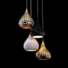 RUSKII - Ceramic pendant with internal metalic finishes, two sizes and styles available