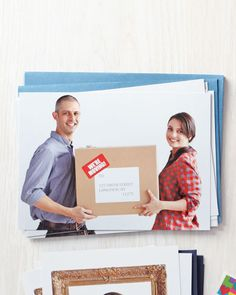 """we're moving"" cards...cute, simple and inexpensive. costco can whip these up quick and cheap!"