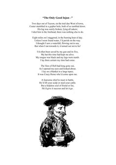 """""""The Only Good Injun-"""" Sample poem from Poems and Tales of the Old West By Robin 'Cody' Sanderson Illustrations by Sam Backhouse  http://www.lulu.com/shop/robin-sanderson/poems-and-tales-of-the-old-west/paperback/product-22353725.html"""