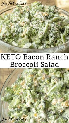 Keto Broccoli Salad with Bacon - Low Carb Gluten-Free Grain-Free THM S - this is a summer favorite in my house. It is cool quick and easy. The flavors of ranch bacon and cheddar kick up this classic picnic and barbecue side dish. Ketogenic Recipes, Low Carb Recipes, Diet Recipes, Healthy Recipes, Salad Recipes, Ketogenic Diet, Low Carb Summer Recipes, Lunch Recipes, Dessert Recipes