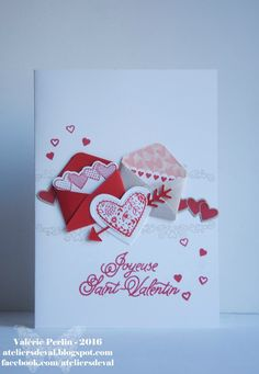 Les Ateliers de Val: Hearts to start the year well Valentines Art, Valentine Day Cards, Holiday Cards, Screen Cards, Valentine's Cards For Kids, Fancy Fold Cards, Wedding Anniversary Cards, Handmade Birthday Cards, Card Making Inspiration