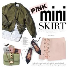 """""""Pink mini skirt"""" by purpleagony ❤ liked on Polyvore featuring Rebecca Minkoff, Royce Leather, Agent Provocateur, Luvvitt, Valentino, Forever 21, bomberjacket, CasualChic and MINISKIRT"""