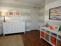 Gray stripe is BM gray owl, aura collection, white custom color stripe width is 12.5 inches the good life blog]: Jackson's Gray Striped Nursery with Orange Accents