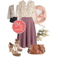 In this outfit: As Far as Chime Concerned Top in Floral, Bugle Joy Skirt in Wisteria, In Charge of the Conference Room Blazer, Brighten Up Circle Scarf in Blush, Refined and Radiant Necklace, Vivacious Vibes Heel in Tan, Whenever, Wherever Bag #floral #outfits #fashion #modcloth #vintage #blouses #skirts #spring #summer #pastels #ootd #feminine #fashiontrends #style #classy