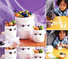 Try this DIY Mummy candy holder craft ideas for kids. Creative Crafts for kids to enjoy Halloween. Best Halloween crafts for kids. Halloween Kunst, Dulceros Halloween, Holidays Halloween, Halloween Treats, Halloween Decorations, Halloween Cubicle, Halloween Candy Bowl, Halloween Bottles, Halloween Costumes