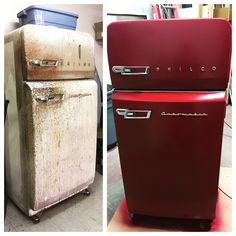 Refrigerator Makeover, Paint Refrigerator, Vintage Fridge, Vintage Refrigerator, Beer Fridge, Mini Fridge, Upcycle Home, Frigidaire, Vintage Stoves