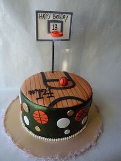 This is a cake I did for a girl who loves basketball and was turning 13, her jersey number was 14 and these are her teams colors. Inspired by a pink cake box cake. TFL