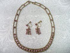 Vintage Pink RHINESTONE and gold beaded necklace by ElegantiTesori, $25.99