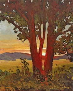 """Mission Arts and Crafts CRAFTSMAN - Matted Giclee Art Print """"Day's End"""" Sunset 11x14 by Jan Schmuckal."""