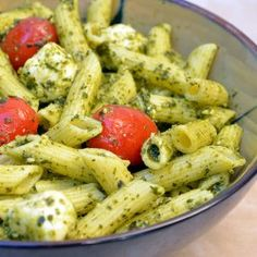 Penne, Pesto, Fresh Mozzarella, but twist it with goat cheese. YUM! We love it at DesertedRoad.com