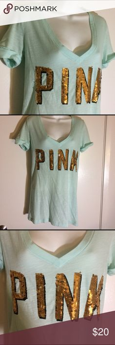 Victoria's Secret Sequin T-Shirt Size small . No flaws . Victoria's Secret aqua and gold T-shirt no bawling those chains wrapped and shipped with care. Tracking always provided. Victoria's Secret Tops Tees - Short Sleeve
