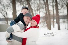 holiday winter session -family of 3. posing- Christmas child / toddler outdoor snow photography - family session