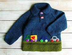Tejido a mano la ropa de chicos - chicos bebé azul Jersey - Jersey de cuello de Polo de mezcla de lana con apliques de fieltro Cars talla 12 a 18 meses