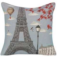Add a glimpse of Paris to your home with the Yves Delorme Iosis Mademoiselle Pillow. The combination of the lovely Eifel Tower, a hot-ar balloon, birds, and red maple leaves makes for a nice view in any room.
