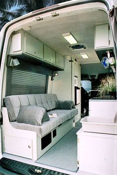 The Sportsmobile Sprinter camper van conversion seats 6 and sleeps It also features a refrigerator, two closets, diesel cooktop, Danhard internal A/C, and a rear bath compartment which can also be used for storage. Enclosed Trailer Camper, Cargo Trailer Camper Conversion, Sprinter Van Conversion, Camper Van Conversion Diy, Cargo Trailers, Camper Trailers, Campers, Campervan Bed, Campervan Interior