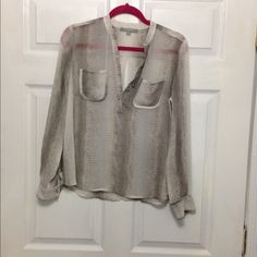 NY collection snakeskin print brown and tan blouse Like new condition brown and tan snakeskin blouse in size petite medium NY Collection Tops Blouses